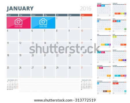 Calendar Planner 2016 Design Template with Place for Photos and Notes. Set of 12 Months. Week Starts Monday