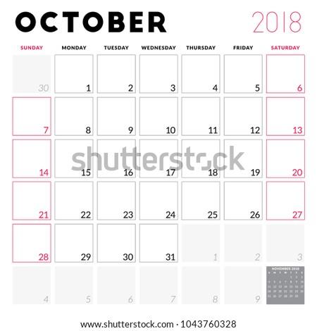 Calendar planner for October 2018. Week starts on Sunday. Printable vector design template. Stationery design