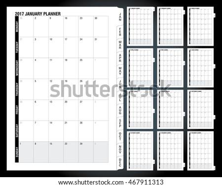 Calendar Planner For 2017 Year. Vector Design Print Template. Week ...