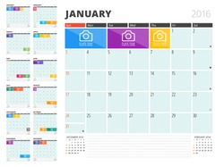 Calendar Planner for 2016 Year. Vector Design Template with Place for Photos and Notes. Set of 12 Months. Week Starts Sunday