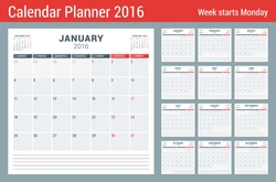Calendar Planner for 2016 Year. Vector Stationery Design Print Template. Square Pages with Place for Notes. 3 Months on Page. Week Starts Monday. 12 Months