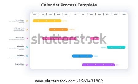 Calendar planner or timeline chart. Concept of schedule or timetable. Minimal infographic design template. Flat vector illustration for business appointment, event or task planning, scheduling.