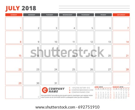 calendar planner template for july 2018 business planner template stationery design week starts