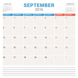 Calendar Planner 2016. Vector Flat Design Template. September. Week Starts Monday