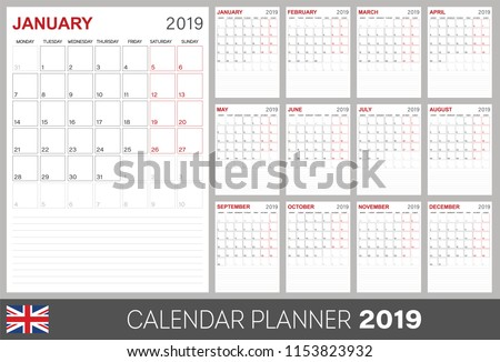 Calendar planner 2019, week starts on Monday, set of 12 months January - December, calendar template size A4, simple design on white background, set desk calendar template, vector illustration