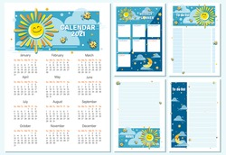 Calendar 2021, planning. Cartoon sun, month. Vector cartoon character for childrens planning. To Do List, note for children. Week starts on Sunday. Vector illustration