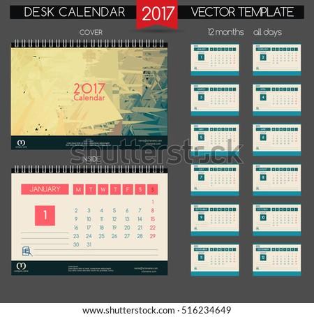 Calendar 2017. Printable calendar for business.