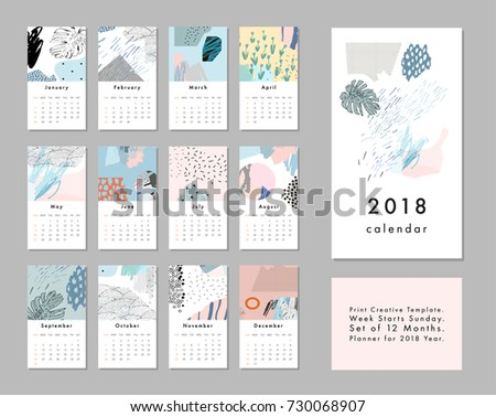 Calendar 2018. Printable creative template. Abstract modern art.