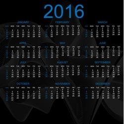 CALENDAR 2016 RAINBOW RIBBON EFFECT BLACK