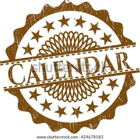 Calendar rubber grunge texture stamp