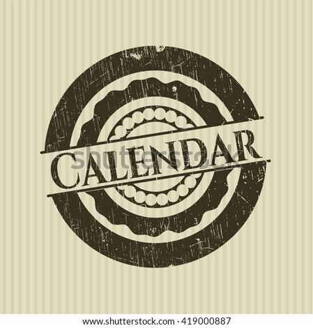 Calendar rubber stamp with grunge texture
