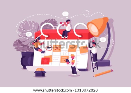 Calendar schedule board with collaboration plan and stickers . Business team planning scheduling work. People make up plan timeline together. Daily routine vector illustration. Teamwork concept