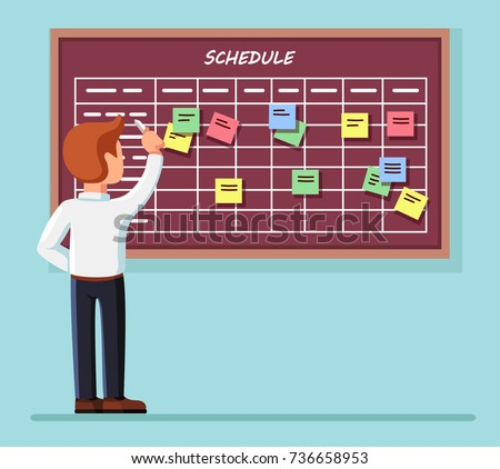 Calendar schedule board with collaboration plan, stickers isolated on background. Business man planning, scheduling work. People make timeline. Daily routine. Vector illustration Flat cartoon design