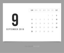 Calendar September 2016 vector design template - Minimalism Style