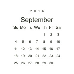 Calendar September 2016 vector design. Week starts from Sunday.