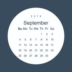 Calendar September 2016 vector design. Week starts from Sunday. icon