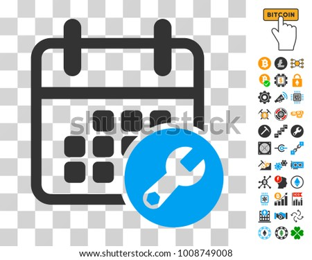 Calendar Setup icon with bonus bitcoin mining and blockchain pictures. Vector illustration style is flat iconic symbols. Designed for bitcoin apps.