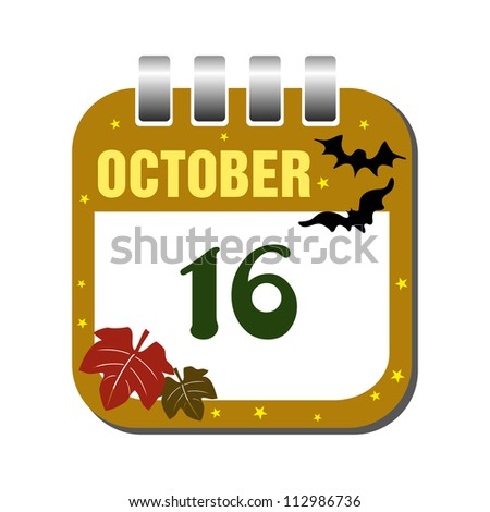 Calendar sheet for the day of October sixteen