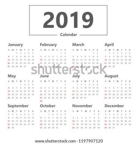 calendar 2019 simple style