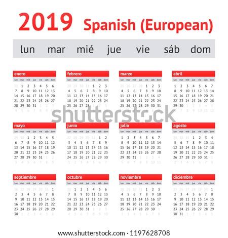 calendar 2019  spain  european