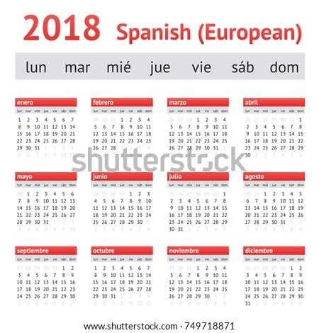 calendar 2018  spain  european