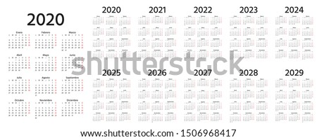 Calendar Spanish 2020, 2021, 2022, 2023, 2024, 2025, 2026, 2027, 2028, 2029 years. Vector. Week starts Monday. Stationery calender template. Yearly organizer in minimal design. Portrait orientation.