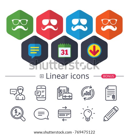 Calendar, Speech bubble and Download signs. Mustache and Glasses icons. Hipster symbols. Facial hair signs. Chat, Report graph line icons. More linear signs. Editable stroke. Vector #769475122