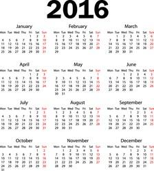 Calendar 2016 starting from monday