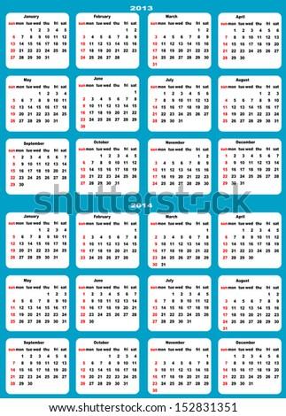 Calendar 2013, 2014, starts on Sunday.