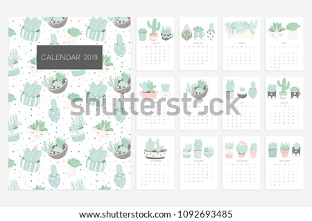 Calendar 2019. Stock vector. Fun and cute calendar with hand drawn succulents and cactus plants. Pretty and soft pastel colors. Pink mint grey white