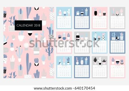 Free Desktop Calendar 2018 With Soft Colour Template Illustration ...
