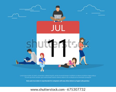 Calendar symbol with people concept flat vector illustration of young people using mobil smartphone, tablet and laptop to schedule plan and make date mark in digital calendar. Template with copy space