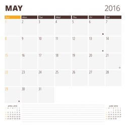 Calendar Template for May 2016. Week Starts Sunday. Planner Design Print Template. Vector Calendar. Stationery Design