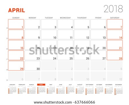 calendar template for 2018 year april business planner with year calendar stationery design