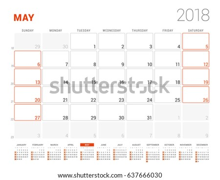 calendar template for 2018 year may business planner with year calendar stationery design