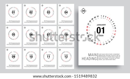 Calendar template for 2020 year. minimalist style. Corporate and business calendar. 2020 calendar in minimal table and blue and yellow color event planner, Week Starts Sunday