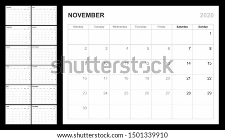 Calendar template for 2020 year. Planner diary in a minimalism style. Corporate and business calendar. Organizer. Monthly calendar. Daily planner. Monday Foto stock ©
