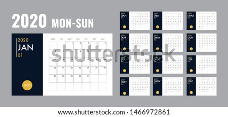 Calendar template for 2020 year. Planner diary in a minimalist style. Corporate and business calendar. 2020 calendar in minimal table and blue and yellow color event planner, Week Starts Monday