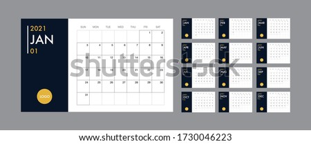 Calendar template for 2021 year. Planner diary in a minimalist style. Corporate and business calendar. 2021 calendar in minimal table and blue and yellow color event planner, Week Starts Sunday
