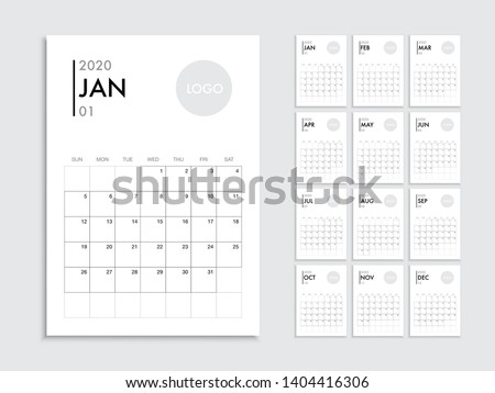 Calendar template for 2020 year. Planner vector diary in a minimalist style. Corporate and business calendar template. Day planner for records throughout the year.