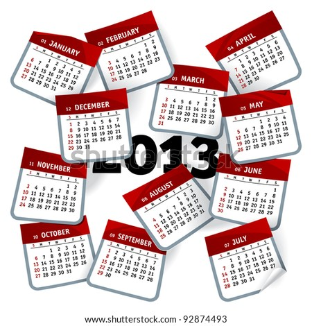 Calendar Template for 2013 Year Represented as Months Pages Whirlwind