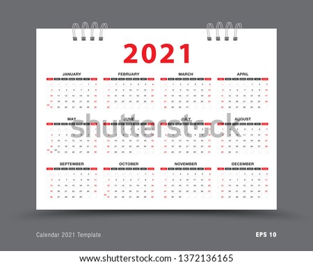 Calendar 2021 template layout, 12 months yearly calendar set in 2021, red background, business brochure flyer, print media, advertisement, Simple design template, vector illustration