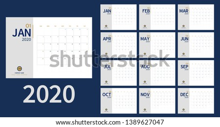 Calendar 2020 template planner Vector new year calender in clean minimal table simple style and blue gold color,Holiday event planner,Week Starts Sunday.12 month annual timetable diary
