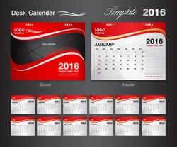 Calendar 2021 template, set red Desk Calendar for 2016 Year. Set of 12 Months. cover design. old design