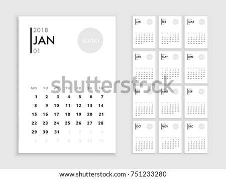 Calendar 2018 template. Vector template calendar 2018 isolated. Planer for the new year minimalist style Calendar 2018.