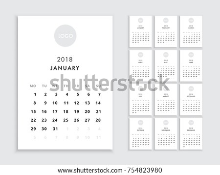Calendar 2018 template. Vector template calendar 2018 isolated. Planer for the new year minimalist style.