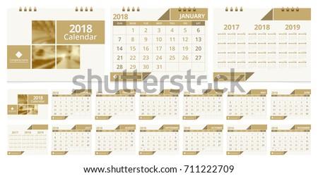 Calendar 2018 template week start on Sunday. Sample image with Gradient Mesh.