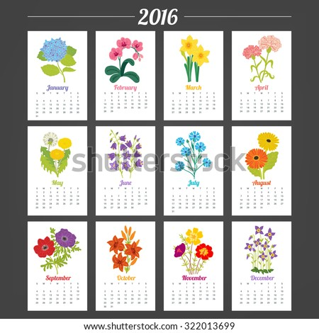 Calendar Template 2016 with flowers. Hydrangea, Orchid, Narcissus, Carnation, Dandelion, Bellflower, Knapweed, Gerbera, Anemone, Lily, Portulaca, Quaker Ladies