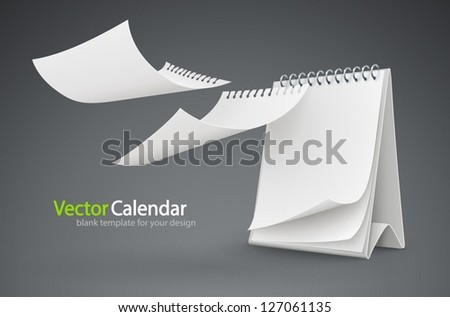 calendar template with flying blank pages. Vector Illustration. EPS10