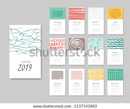 Calendar 2019. Templates with creative hand drawn textures. Vector illustration. Blue, red, yellow, brown colors.
